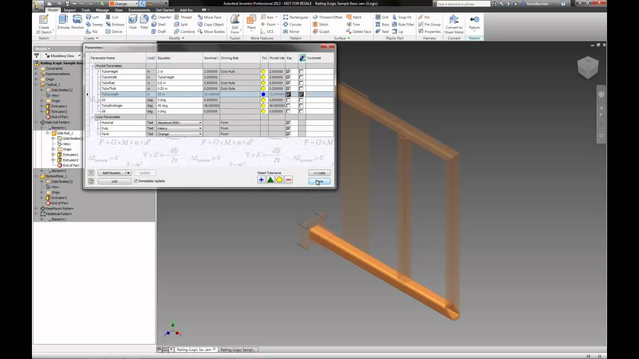 Inventor 2012 Tip - Add Parameters To Parts List