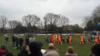 Players walking out for Hampton and Richmond borough v Braintree town