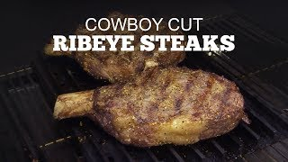 How to grill a Cowboy Cut Ribeye Steak | Green Mountain Pellet Grills | Loot N' Booty & Chef John