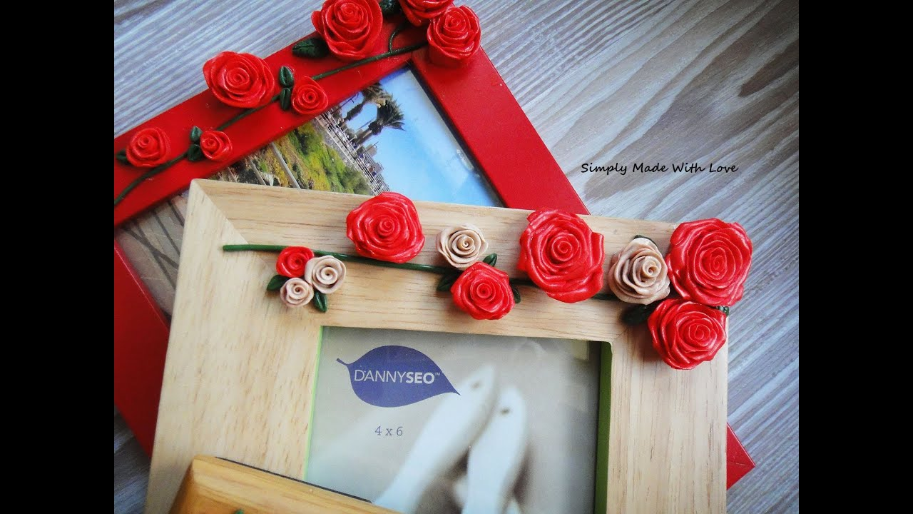 mother's day photo collage idea - How to decorate photo frames with modeling caly tutorial