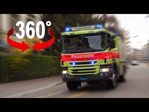 Fahre im Feuerwehrauto mit Blaulicht durch Zürich I 360-Grad-Video