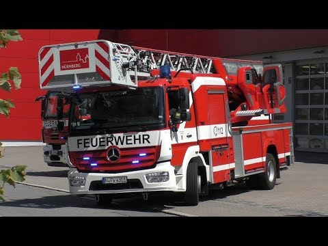 Löschzug FW 4 + ELW FW 1 BF + FuStW Polizei Nürnberg
