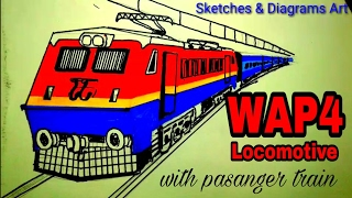 Indian Electric WAP4 Locomotive (new colour pattern) with pasanger train sketching