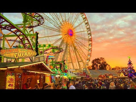 LONDON WALK | Hyde Park Winter Wonderland Incl. Fun Fair Rides And Food | England
