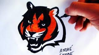 Como Desenhar a logo dos Cincinnati Bengals (How to Draw Cincinnati Bengals logo) - NFL LOGOS #9