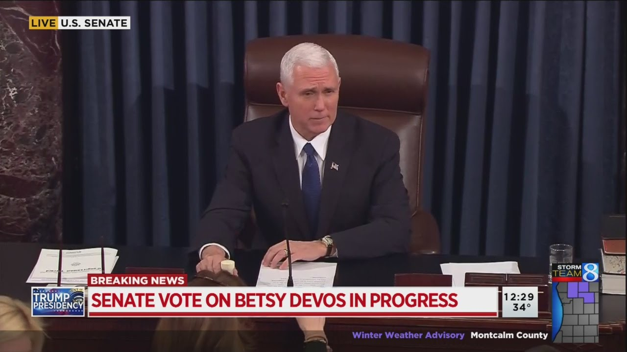 Why I Wont Vote For Betsy Devos >> Senate Confirms Betsy Devos With Tie Breaking Vote By Vp