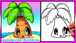 How to Draw Summer Cartoons - Cute Easy Beach Palm Tree - Fun2draw drawings