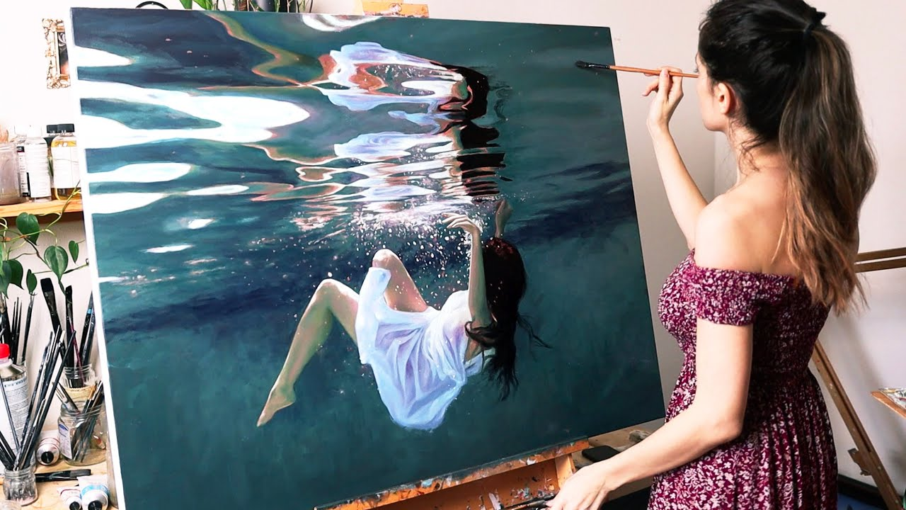 Download I painted myself underwater | Oil Painting Time Lapse | Realistic Underwater Scene