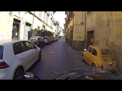 Riding Motorcycle in Historic Viterbo, Italy