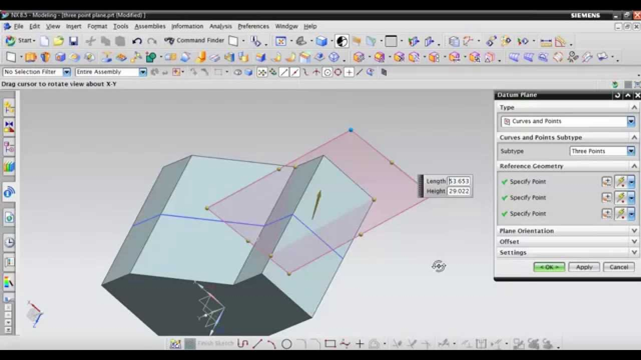 Three Point Plane : Three point plane in nx cad youtube