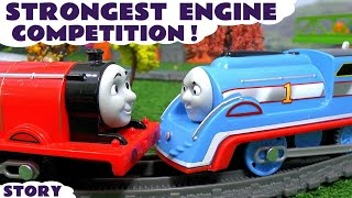 Thomas and Friends Strongest Engine on Great Race Track with Disney Cars Toys McQueen & Peppa Pig