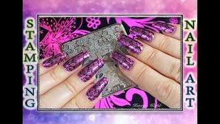 Стемпинга с лаком Dance Legend Metalic Magenta / Stamping Nail Art.