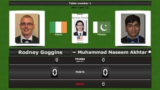 Snooker Men Last 32 : Rodney Goggins vs Muhammad Naseem Akhtar