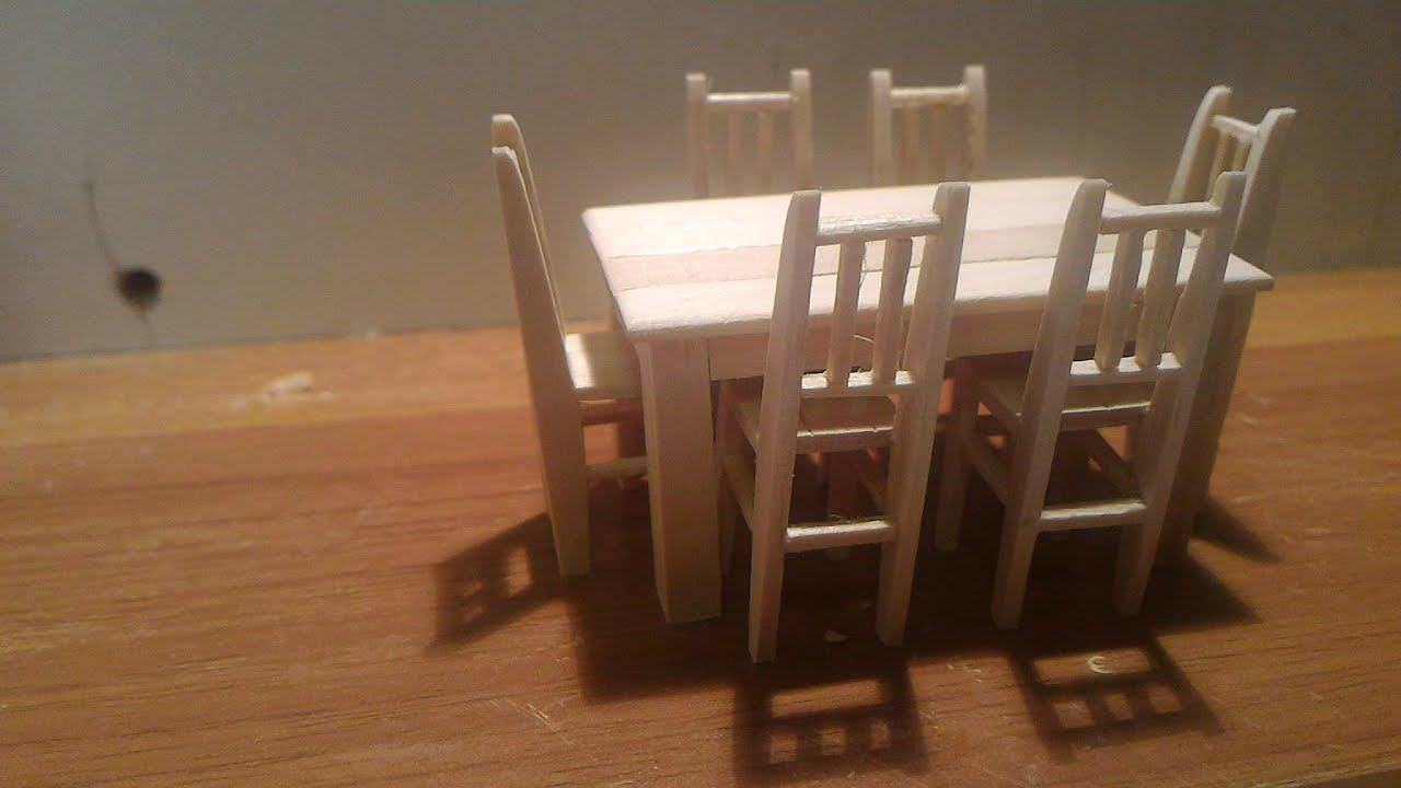 10 popsicle stick house, chair and table. - youtube