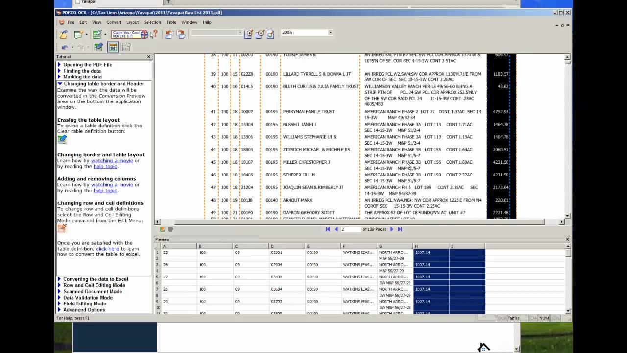 Convert PDF To XLS Excel Spreadsheet