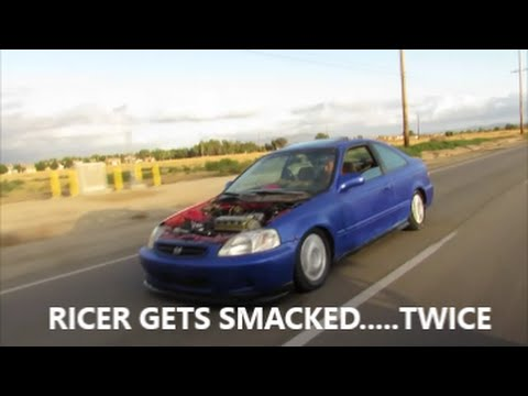 Ricer Talks Up Civic And Loses Against Truck!