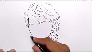 KEREN, cara menggambar ELSA FROZEN GAYA ANIME dengan MUDAH / how to draw