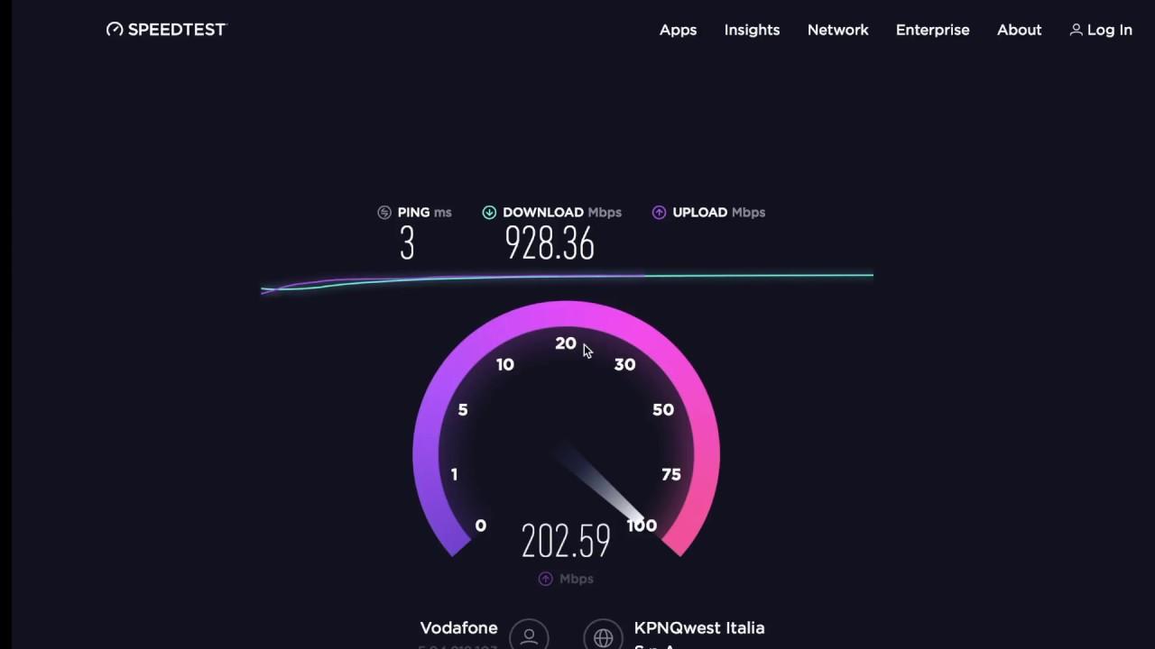 Speedtest iperfibra Vodafone 1Gb/s