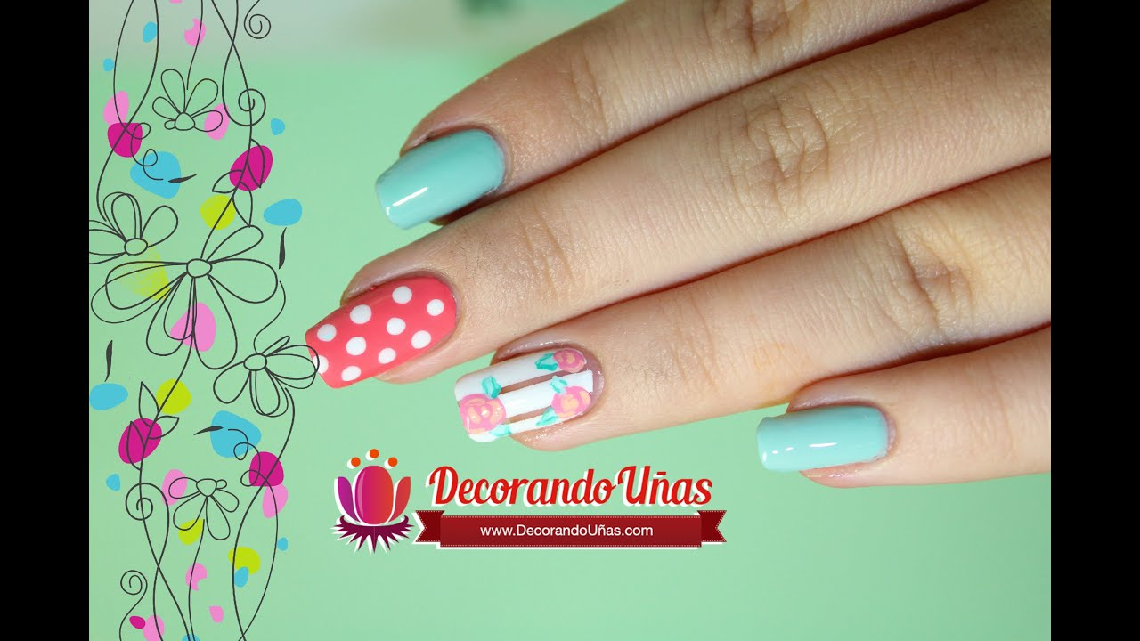 Uñas De Gel Decoradas Con Flores Uñas Decoradas Con Puntos Y Flores Youtube