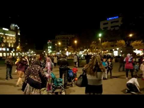 Bubbles at night in Catalunya Square Barcelona SPAIN