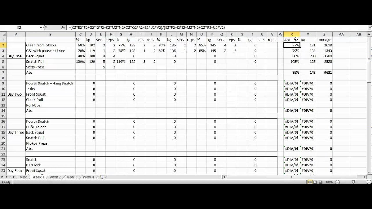 Rumbler weightlifting programming spreadsheet youtube for Weight lifting template excel