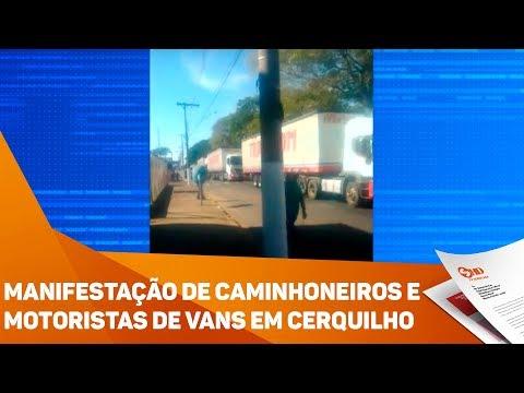 Manifestação de caminhoneiros e motoristas de vans em Cerquilho - TV SOROCABA/SBT