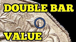 Australia 1979, 1980 error double bar 50 cent coins