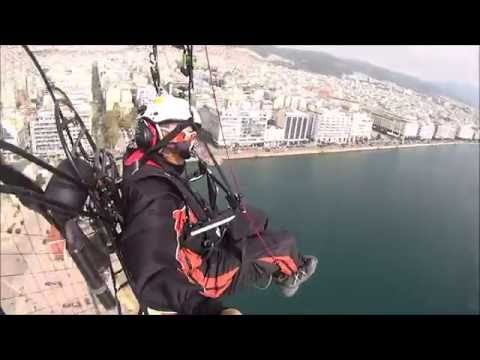 Paramotor downtown in Thessaloniki