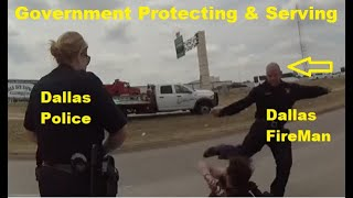 Dallas Police & Fireman Brad Cox Working Together Earning The Hate - Kicking Homeless In The Head