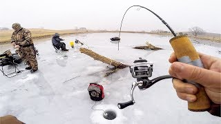 SNEAKING into GOLF COURSE Pond!! (CATCH CLEAN COOK) - Ice Fishing