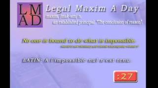 Legal Maxim A Day - Jan. 26th 2013 -