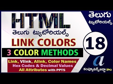 HTML Telugu Tutorials Part-18    Link Colors & Color Methods    Vlink, Alink