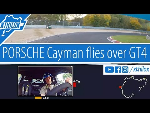 Porsche Cayman flies over crashed GT4 - Coolant Fluid on Track - AGAIN - Nürburgring Nordschleife