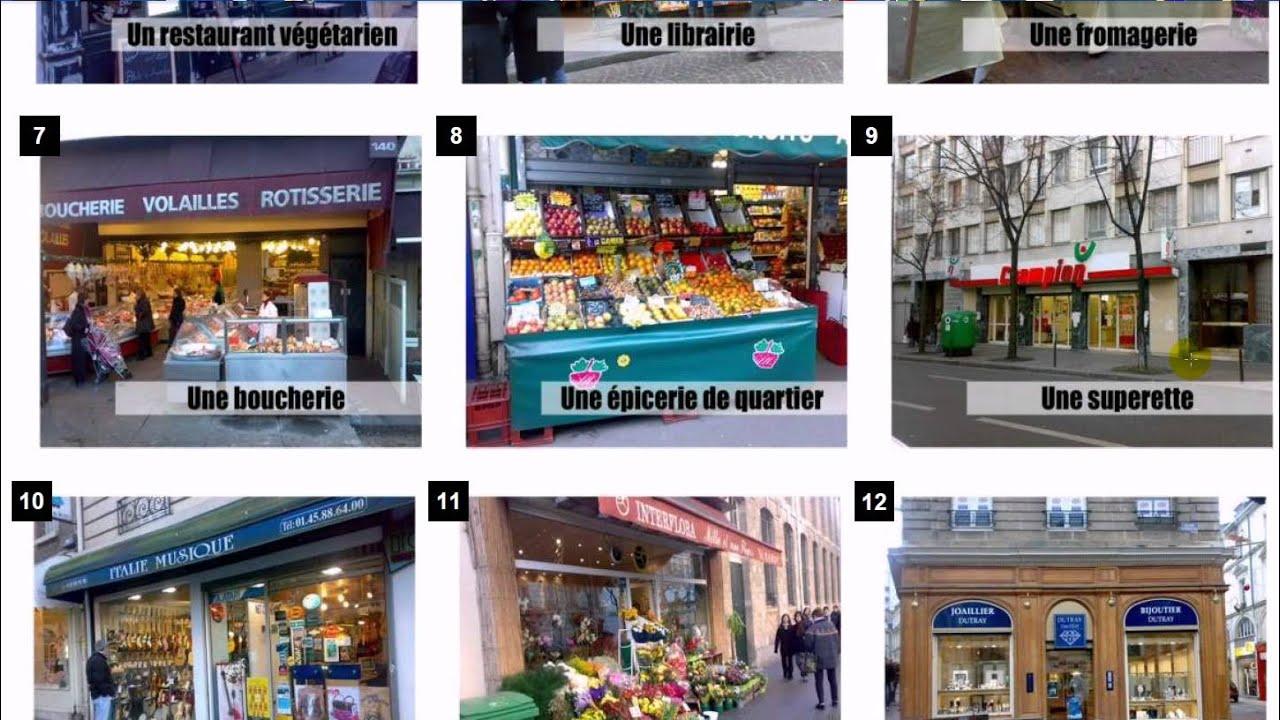 Learn french vocabulary les magasins et la ville youtube for Choupi et doudou a la piscine
