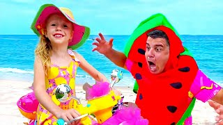 Настя покупает мороженое и лимонад на пляже