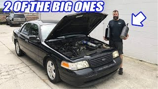 The Subscriber Donated Crown Vic Gets NITROUS! I Let Liam Spray It. (Will I Regret This?)