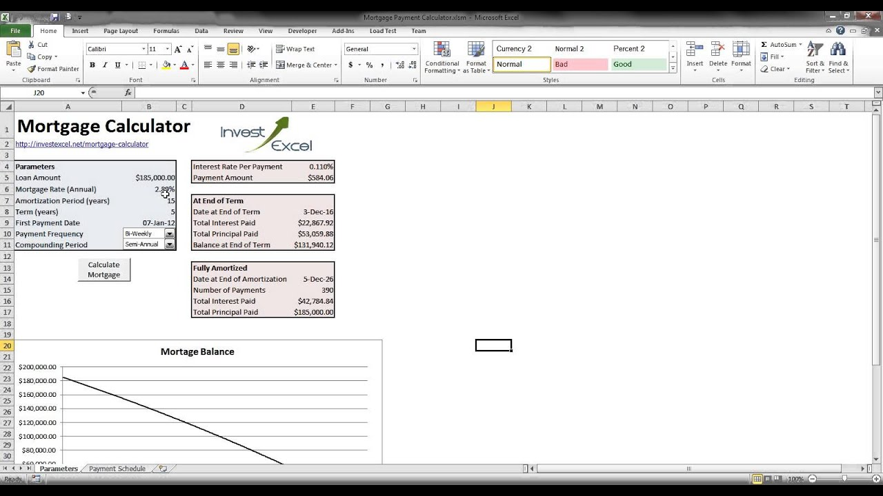 Mortgage Payment Calculator for Excel - for USA, Canada and UK mortgages - YouTube