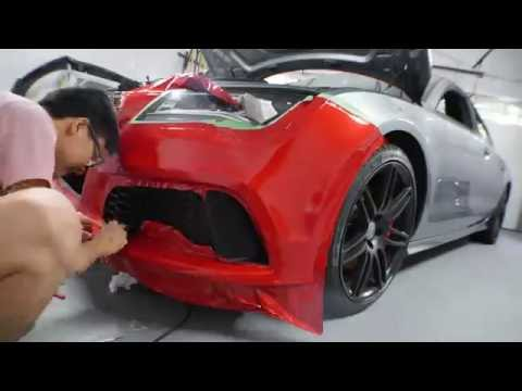 Audi A7 gets wrapped 3M gloss dragon fire red (Time lapse 4K)