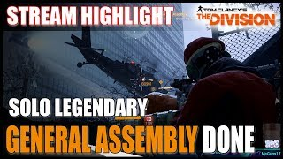 The Division || GENERAL ASSEMBLY SOLO LEGENDARY FLAWLESS || Best PvE Build Gameplay
