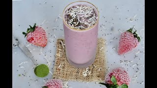 Smoothie Recipe: Strawberry, Coconut & Matcha Smoothie by Everyday Gourmet with Blakely