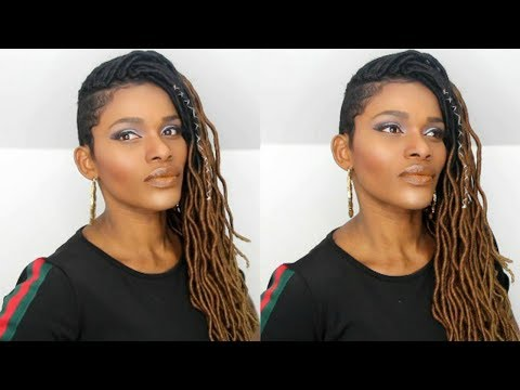 "under-30mins➟-freetress-wavy-ombre'-20""-faux-loc-on-shaved-sides-