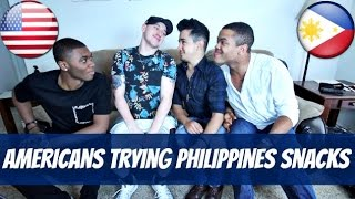 AMERICANS TRYING PHILIPPINES SNACKS! w/ Shane Gamboa, Kenny Brown & Lamont Odum