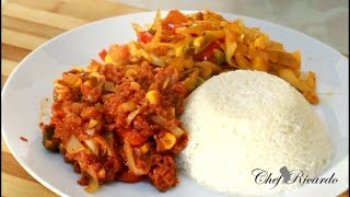 Jamaican Bully Beef And Caggage Served With White Rice Black History Month | Recipes By Chef Ricardo