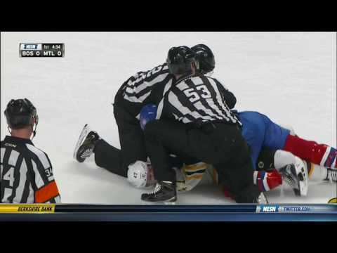 Torey Krug hits Andrew Shaw, fights Brendan Gallagher 12/12/16