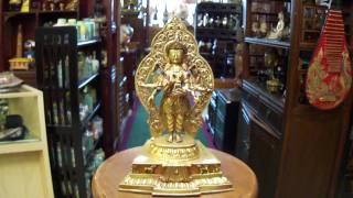 Brass Golden Gilt Eight-armed Tara Figure S2003m