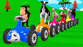 बच्चों के लिए पशु खिलौना ट्रेन वीडियो   Cartoons for babies and toddlers   फार्म पशु और फल जानें