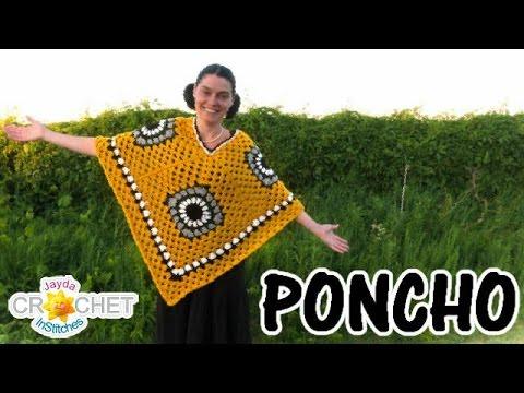 8bc15e25f Crochet Granny Square Poncho - Retro Clothing Pattern - YouTube