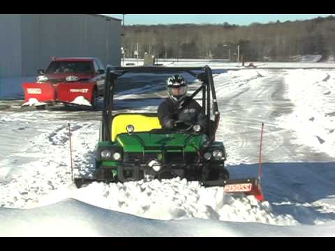 John Deere Gator Plow >> Gator And Boss Utv Plow Stacking Snow Youtube