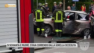 TG BASSANO (04/04/2018) - SI SCHIANTA E MUORE. STAVA CORRENDO DALLA SORELLA DECEDUTA