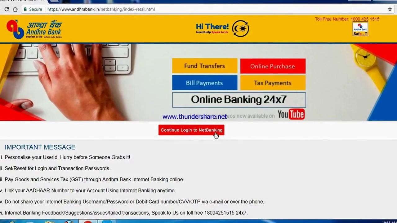 HOW TO LINK AADHAAR NO TO ANDHRA BANK ONLINE / OFFLINE